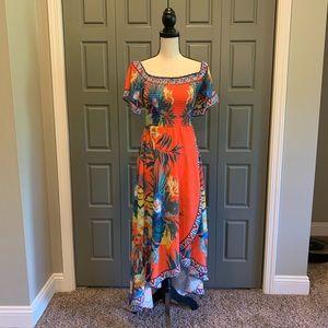 Jealous Tomato Tropical Print Hi-Lo Smocked Dress